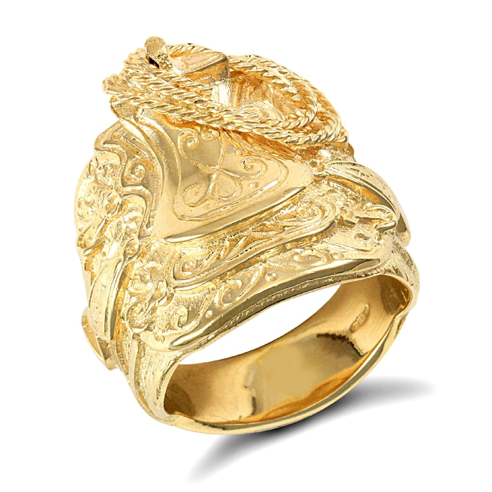 Solid 9ct Yellow Gold Horse Saddle Rope Ring