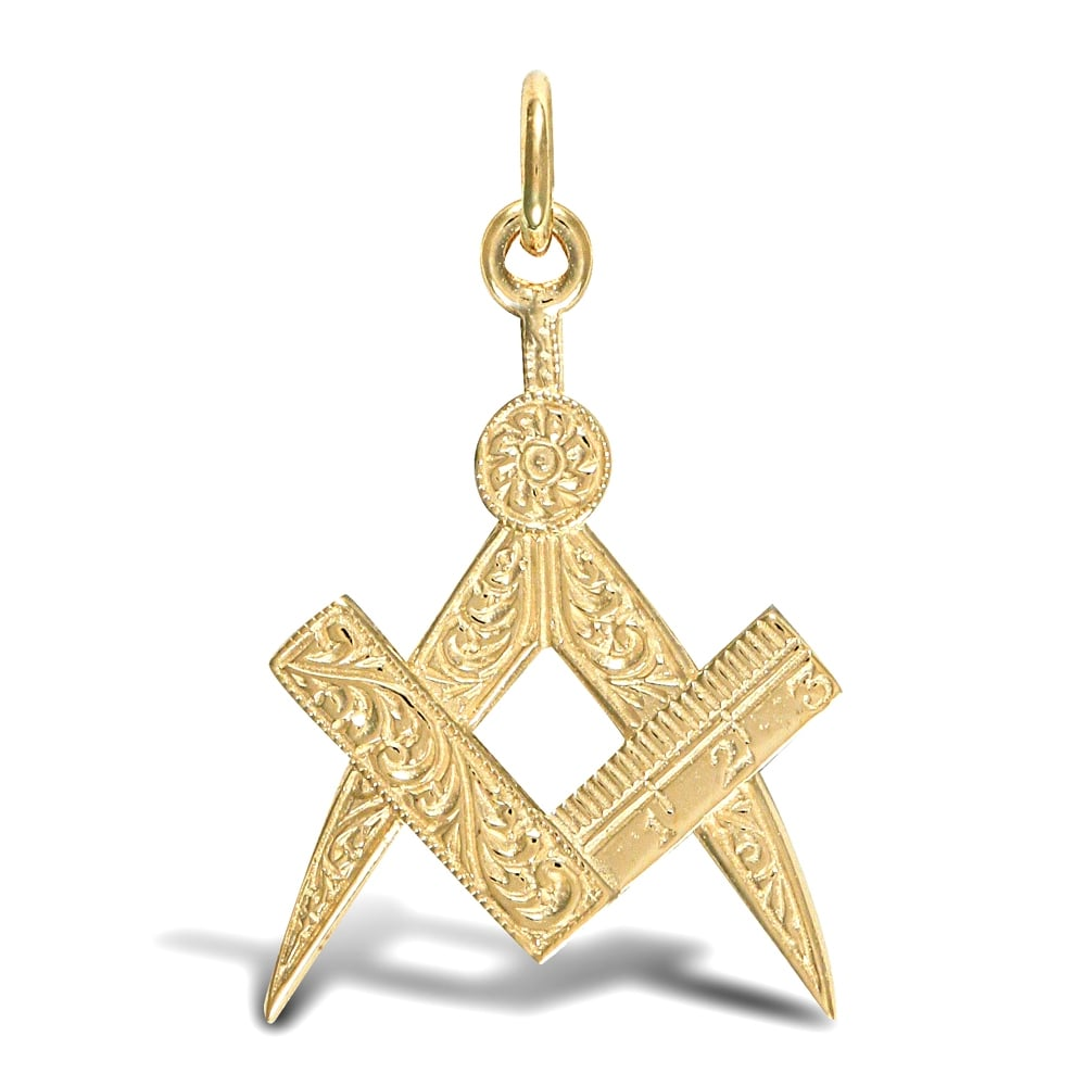 Mens solid 9ct yellow gold masonic square compass charm pendant aloadofball Gallery