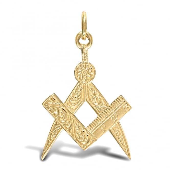 Men's Solid 9ct Yellow Gold Masonic Square Compass Charm Pendant