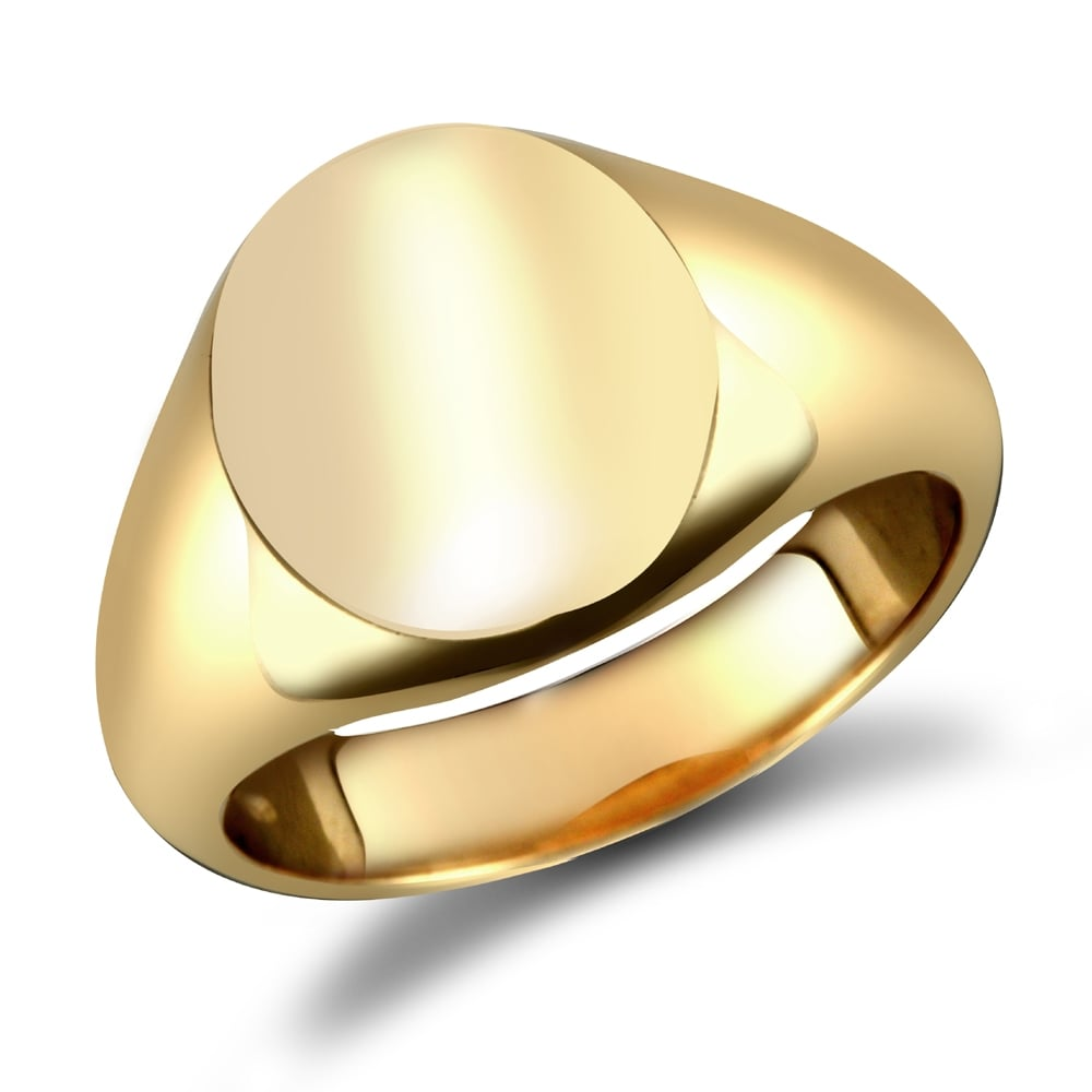 c2dd43e72c971 Men's Solid 9ct Yellow Gold Oval Signet Ring