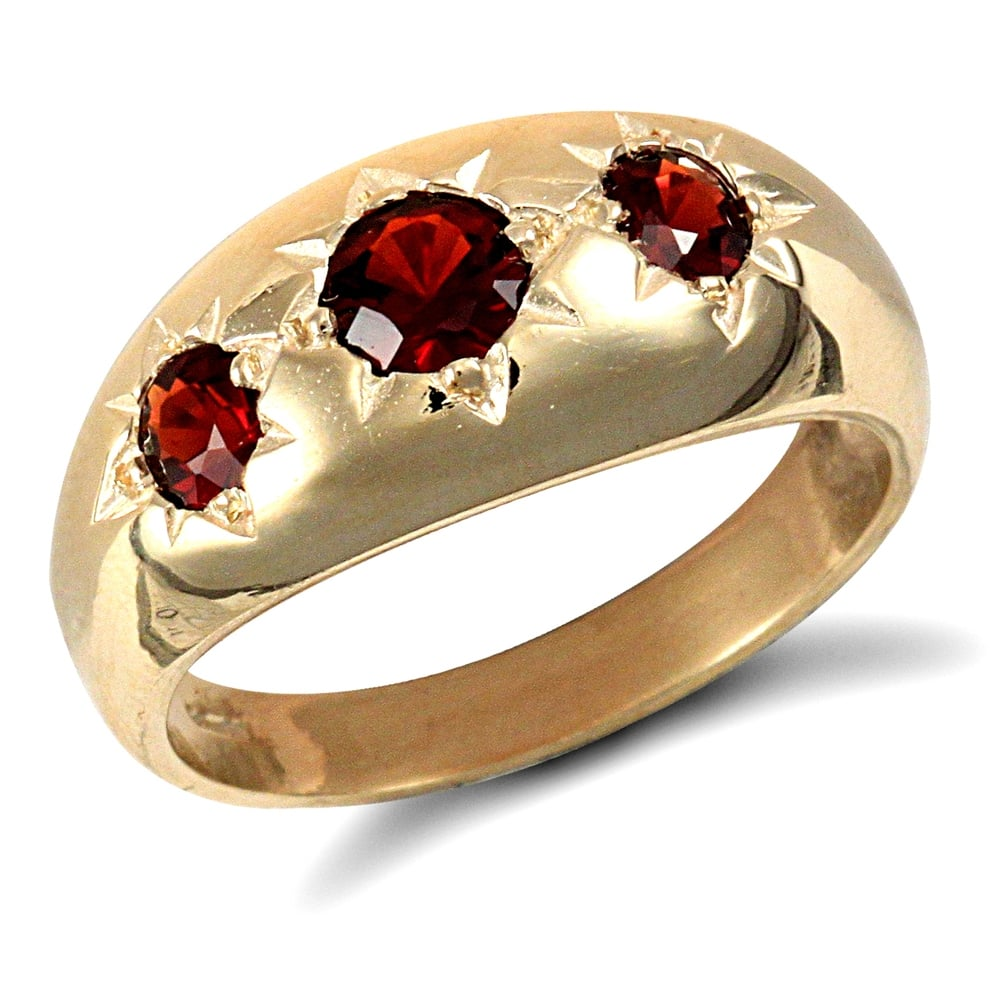 Men S Solid 9ct Yellow Gold Round Brilliant Garnet Star