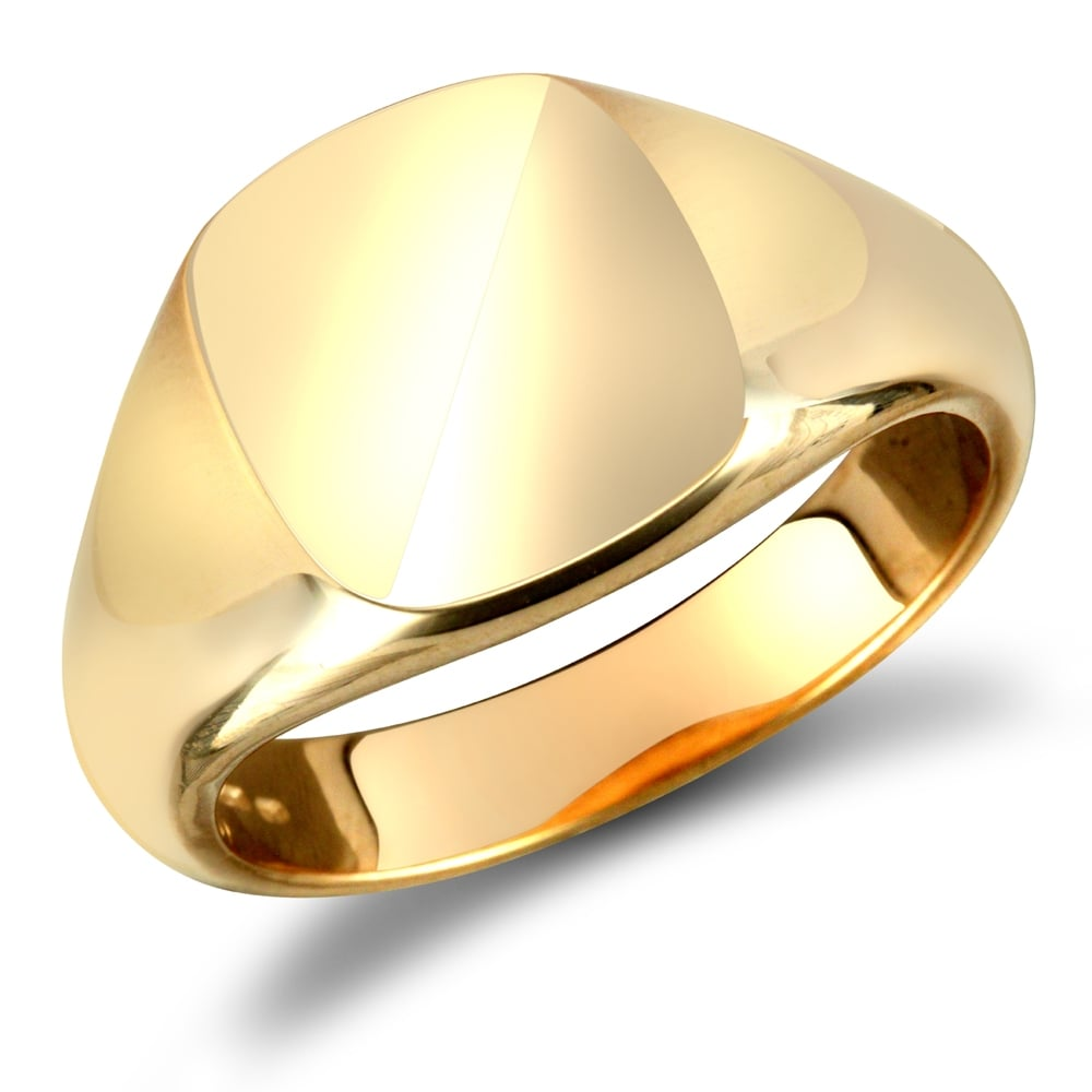 c1f257fd54217 Men's Solid 9ct Yellow Gold Square Cushion Signet Ring
