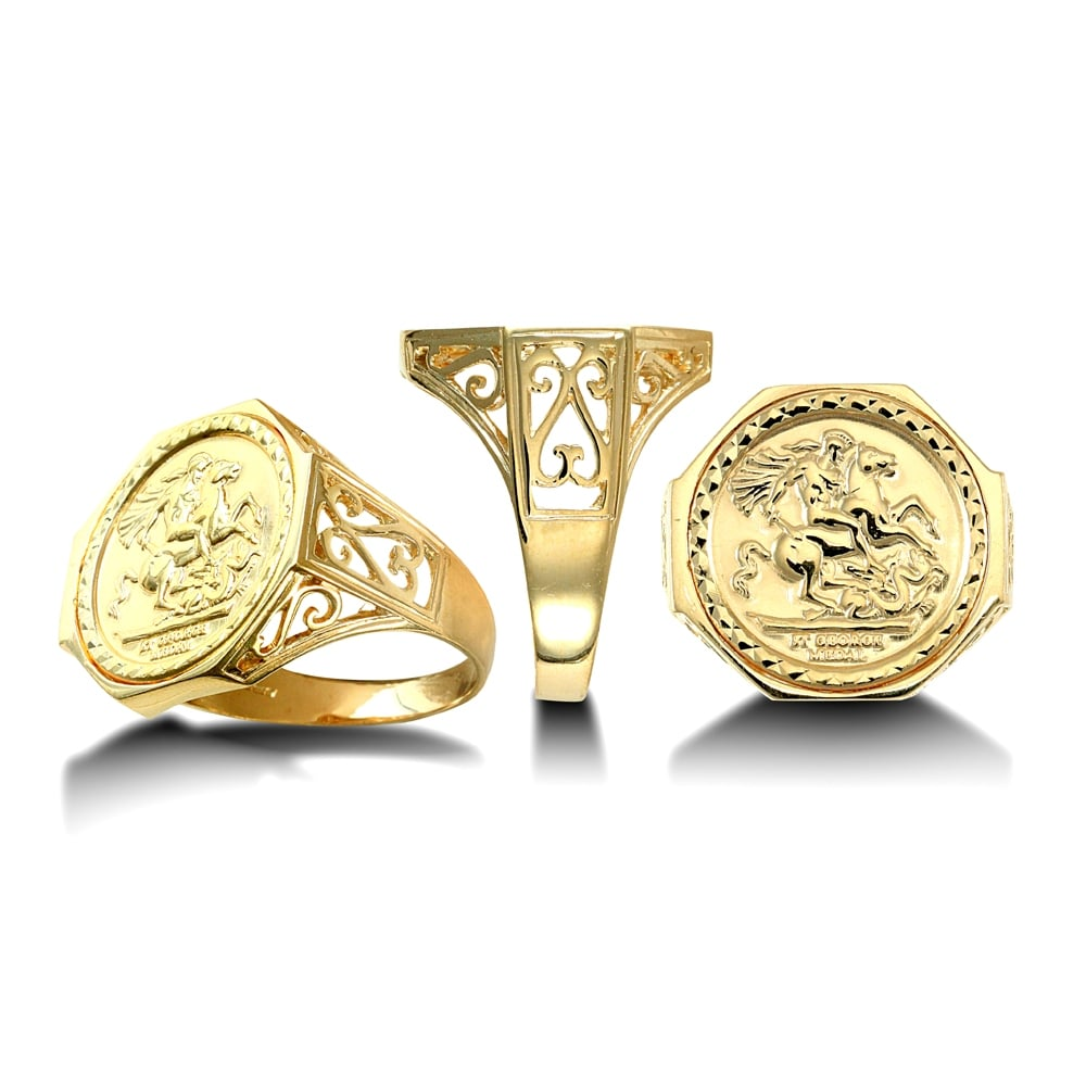image gold rings ring yellow sovereign half jewellery gents