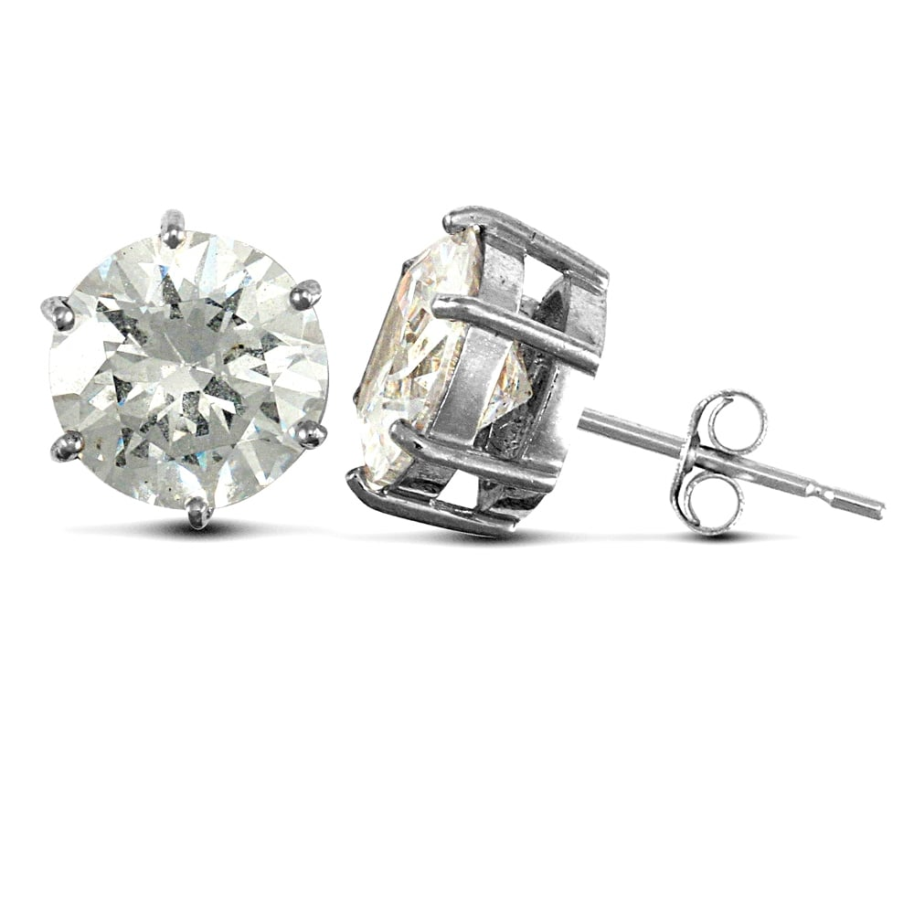 07f073a83 Solid 9ct White Gold White Round Brilliant Cubic Zirconia 6 Claw Solitaire  Heavy Weight Stud Earrings, ...