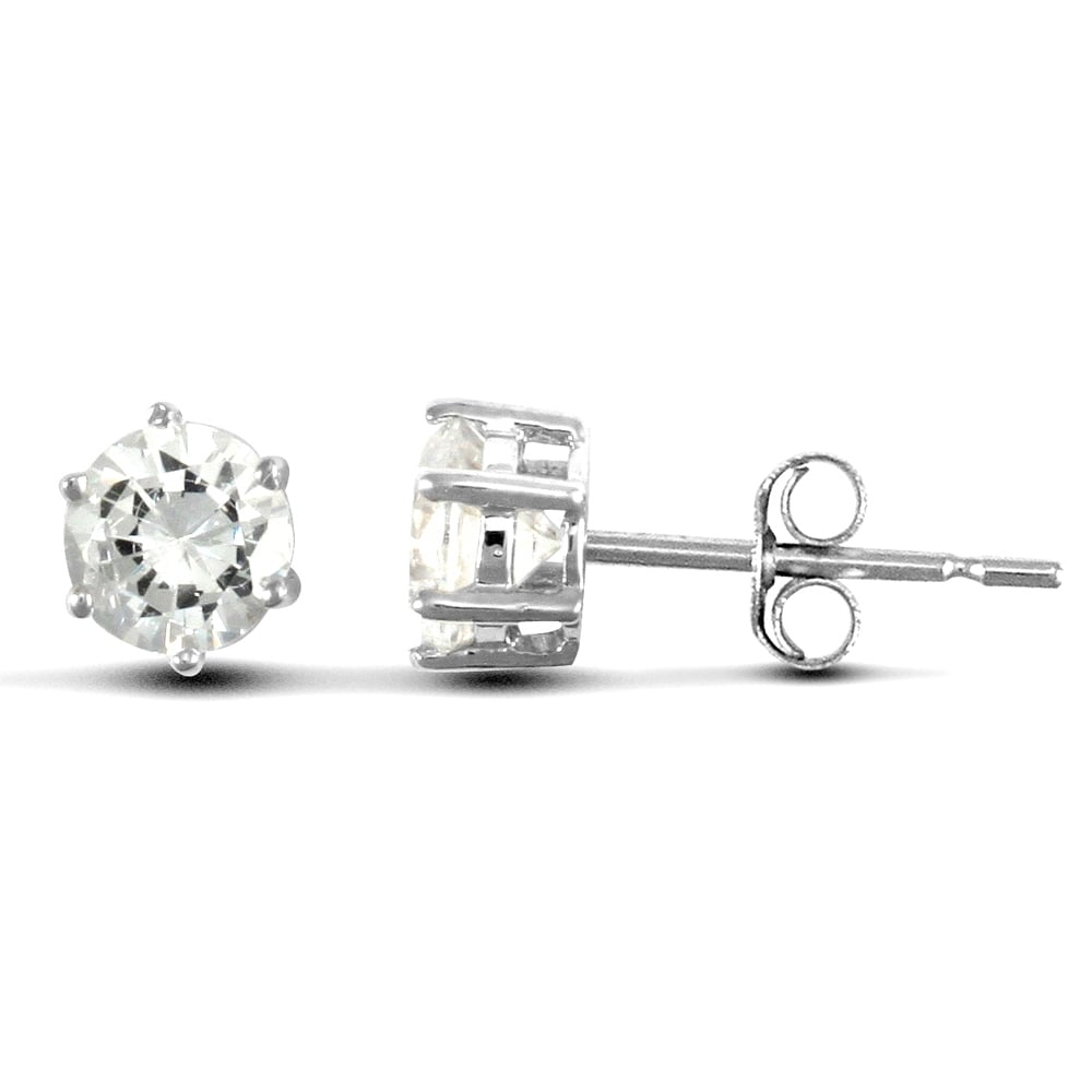 Solid 9ct White Gold Round Brilliant Cubic Zirconia 6 Claw Solitaire Heavy Weight Stud Earrings