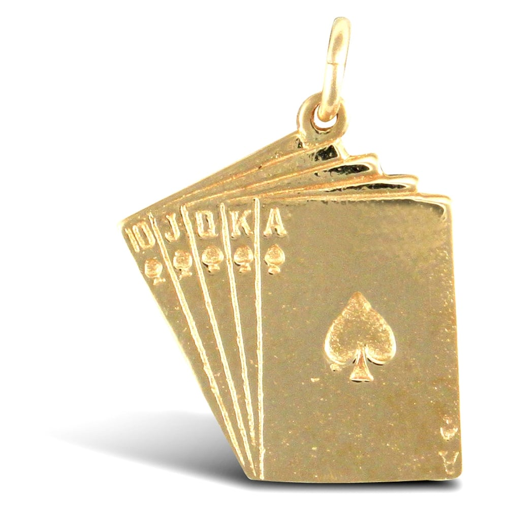 Solid 9ct yellow gold ace of spades royal flush poker charm pendant aloadofball Image collections