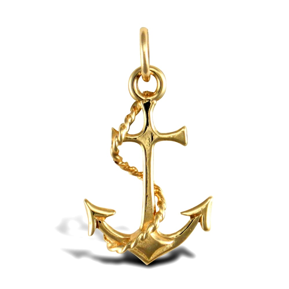 Solid 9ct yellow gold anchor charm pendant aloadofball