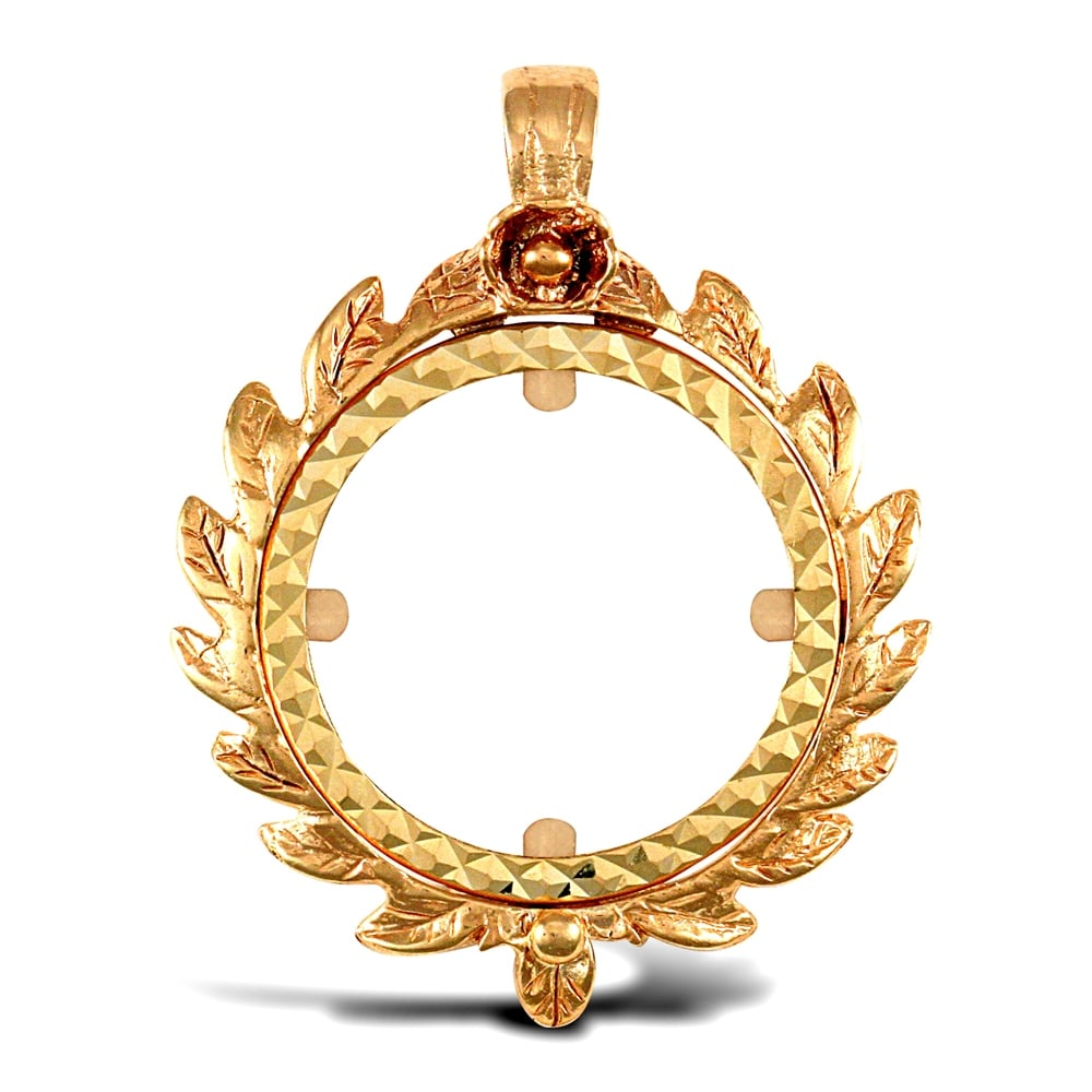 Solid 9ct yellow gold caeser crown frame half sovereign coin mount solid 9ct yellow gold caeser crown frame half sovereign coin mount pendant aloadofball Choice Image