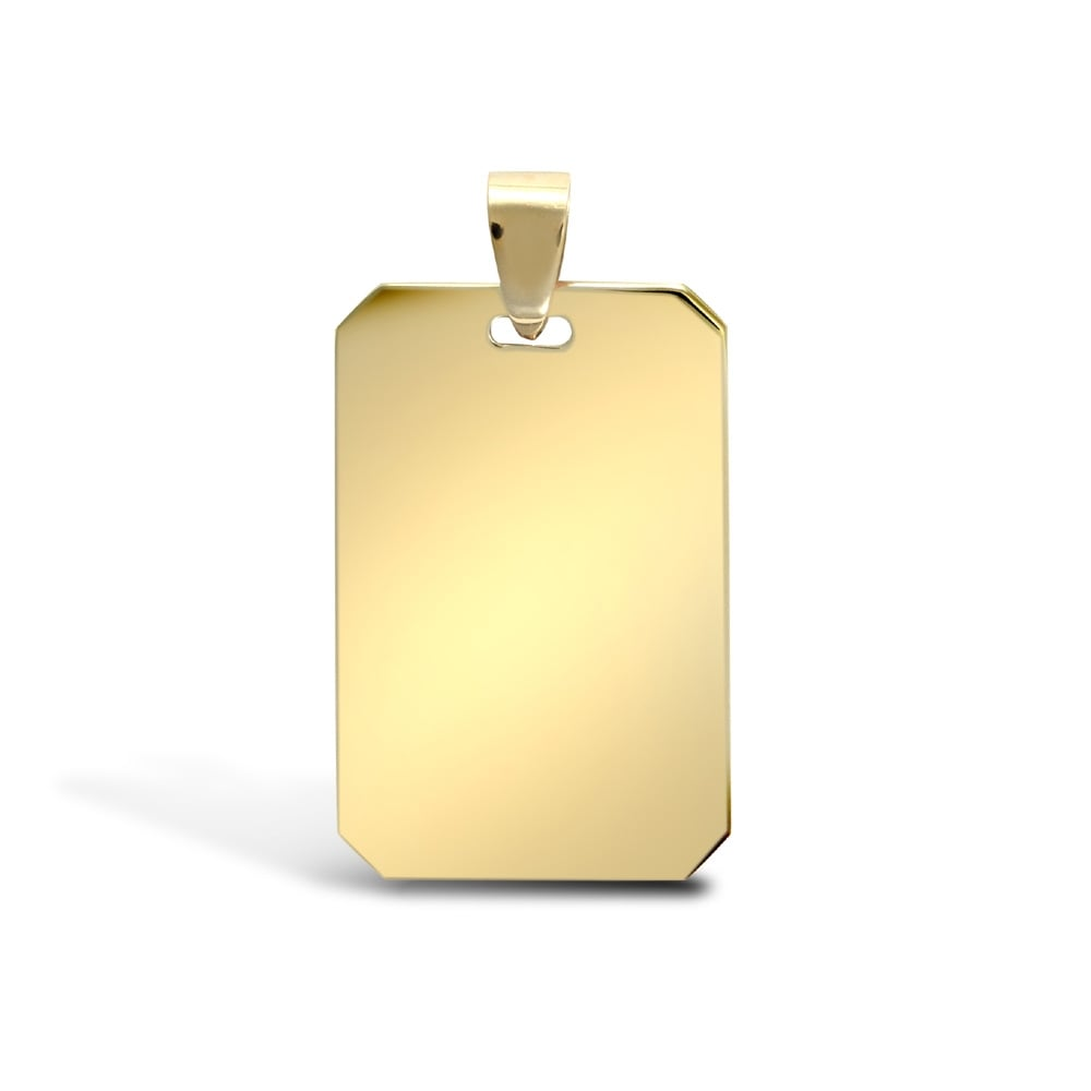 Solid 9ct yellow gold dog tag pendant aloadofball Image collections