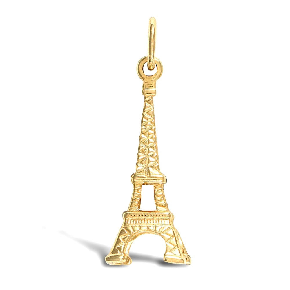 e34a66e57 Solid 9ct Yellow Gold Eiffel Tower Charm Pendant