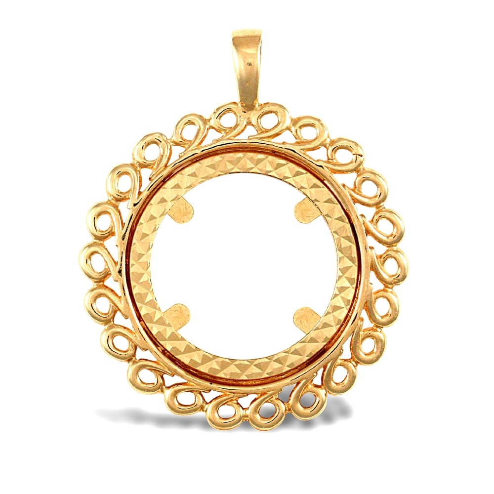 Solid 9ct yellow gold loop spiral frame half sovereign coin mount solid 9ct yellow gold loop spiral frame half sovereign coin mount pendant aloadofball Choice Image