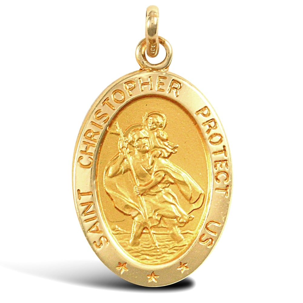 Solid 9ct Yellow Gold Matte Oval St Christopher Medallion ...