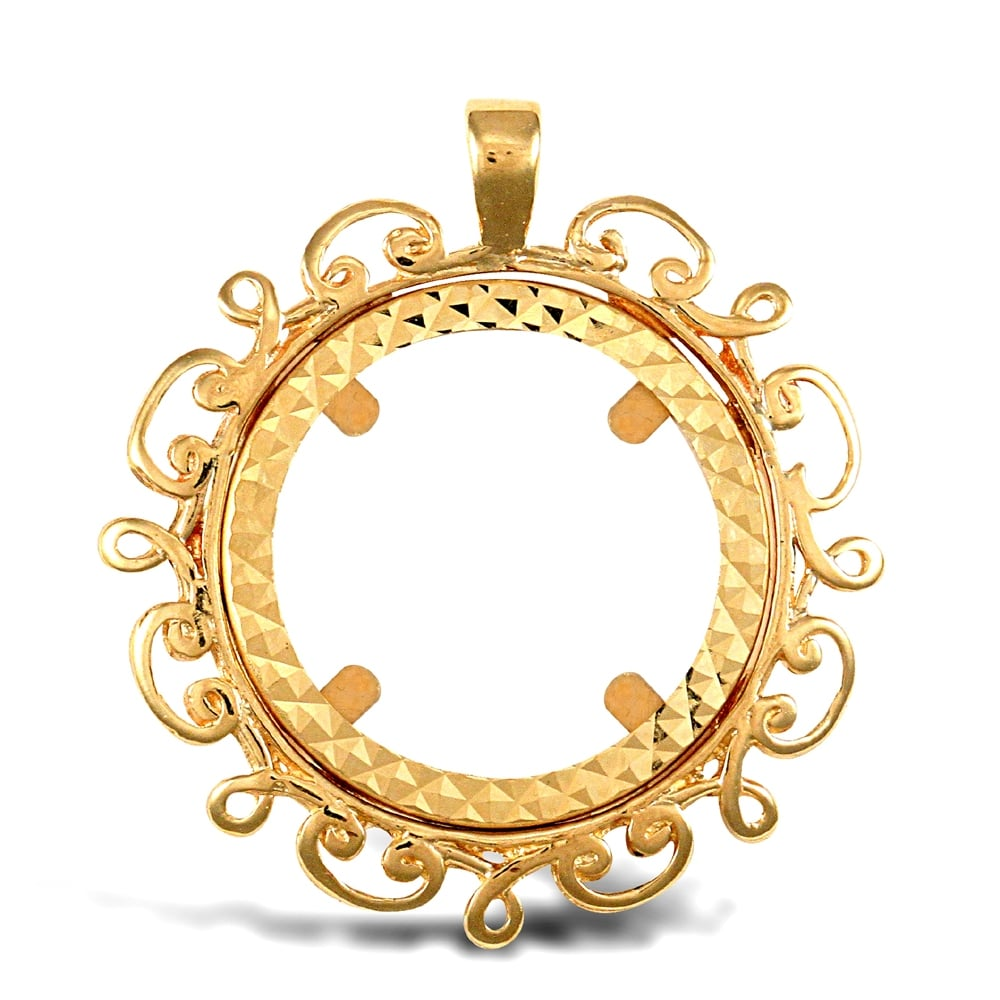 Solid 9ct yellow gold scroll frame full sovereign coin mount pendant aloadofball Choice Image