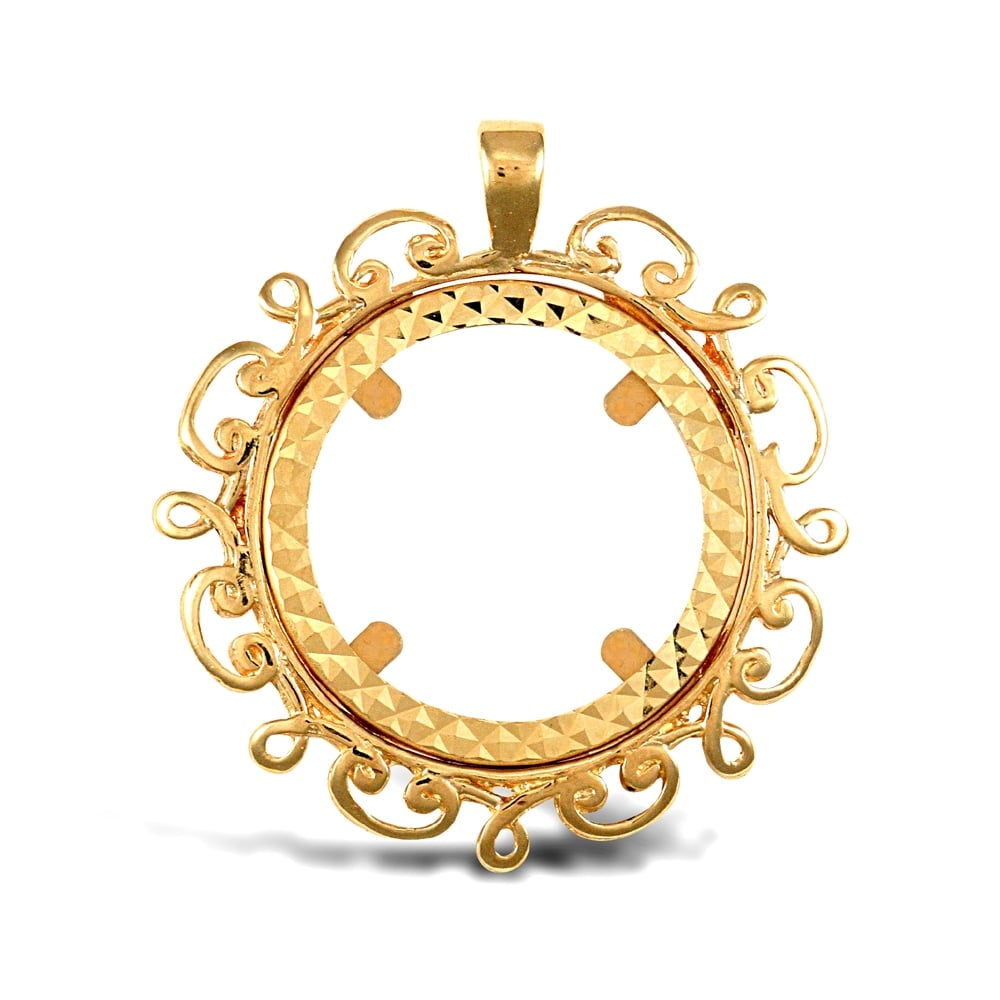 9ct yellow gold scroll frame half sovereign coin mount pendant solid 9ct yellow gold scroll frame half sovereign coin mount pendant aloadofball Images
