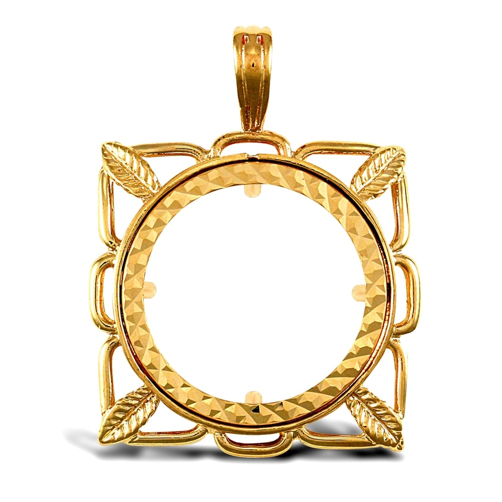 Solid 9ct yellow gold square leaf frame half sovereign coin mount solid 9ct yellow gold square leaf frame half sovereign coin mount pendant aloadofball Image collections