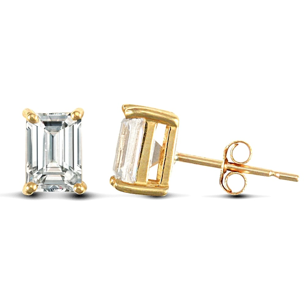 Solid 9ct Yellow Gold White Emerald Cut Cubic Zirconia 4 Claw Solitaire Heavy Weight Stud Earrings